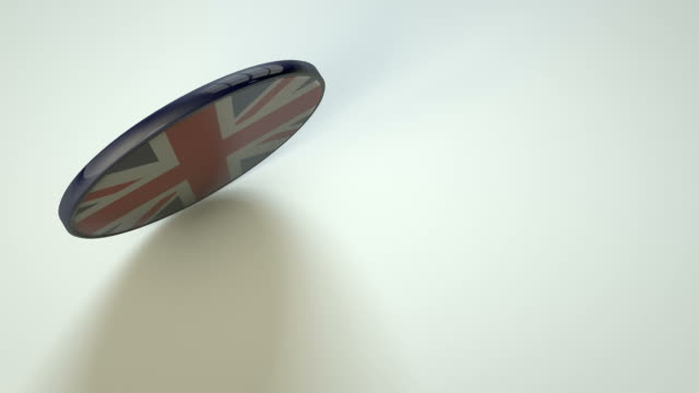 Great Britain union jack spinning coin disk video