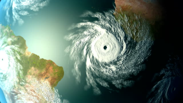 Great cataclysm, massive storms on Earth, CG animation. video