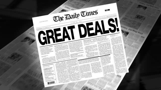 Great Deals! - Newspaper Headline (Intro + Loops) video