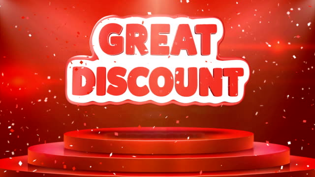 Great Discount Text Animation Stage Podium Confetti Loop Animation