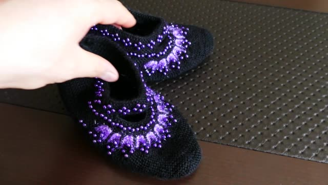 great hand-knitted patterned and multi-colored booties socks,Anatolian handicrafts, turkey great hand-knitted patterned and multi-colored booties socks,Anatolian handicrafts, turkey baby booties stock videos & royalty-free footage