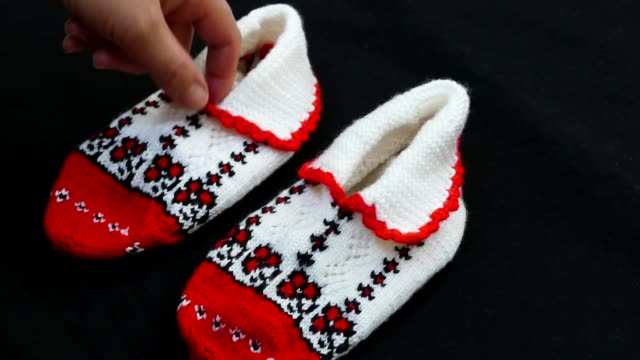 great hand-knitted patterned and multi-colored booties socks,Anatolian handicrafts, turkey