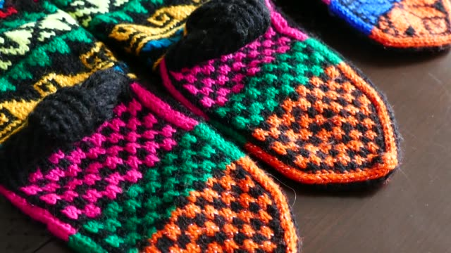 great hand-knitted patterned and multi-colored socks, Anatolian handicrafts,