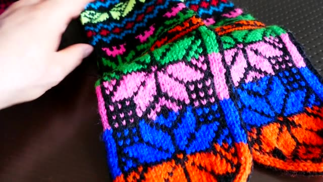 great hand-knitted patterned and multi-colored socks, Anatolian handicrafts, great hand-knitted patterned and multi-colored socks, Anatolian handicrafts, baby booties stock videos & royalty-free footage