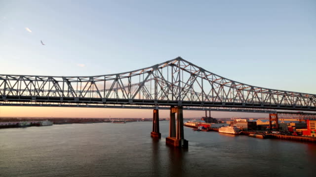 Great New Orleans bridge panning shot video