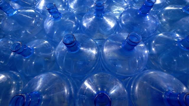 Great number of 19 liter plastic bottles. video