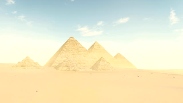 Great pyramids in Giza valley at daytime no people video