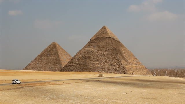 Great Pyramids on the background of Cairo. Egypt video