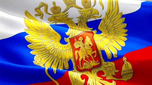great russia flag with eagle emblem loop waving in wind. realistic russian flag background. russia flag looping closeup 1080p full hd 1920x1080 footage. putin moscow kremlin country flags/ hd flags - kiss filmów i materiałów b-roll