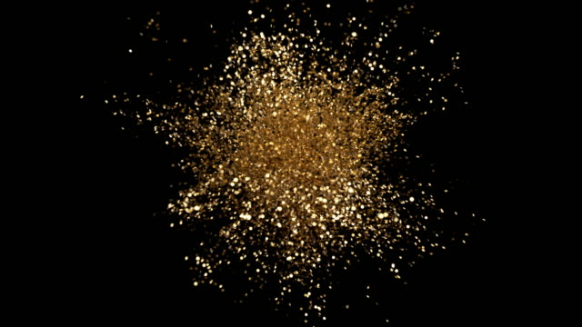 Great Stylish Bright Explosion Glitter with Flickering. Colourful Elegant Confetti Burst on Black Background. Isolated Animation Golden Explode Sparkle Particles. Beautiful Cg Explosion Close up Shot Great Stylish Bright Explosion Glitter with Flickering. Colourful Elegant Confetti Burst on Black Background. Isolated Animation Golden Explode Sparkle Particles. Beautiful Cg Explosion Close up Shot gold colored stock videos & royalty-free footage