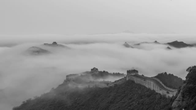 Great Wall of China stock video The Jinshanling Great Wall in China is a spectacular sunrise. black and white architecture stock videos & royalty-free footage