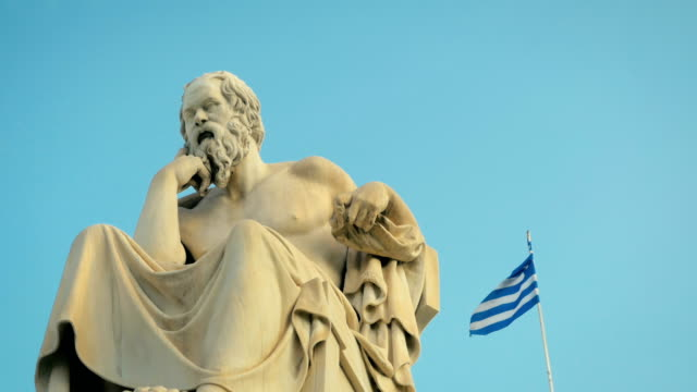 Greatest philosopher of ancient Greece Socrates reflects on the meaning of life. On the background of Greek flag. Greatest philosopher of ancient Greece Socrates reflects on the meaning of life. On the background of Greek flag. philosophy stock videos & royalty-free footage