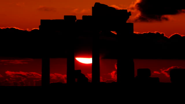 Greece Agora red romantic sunset video