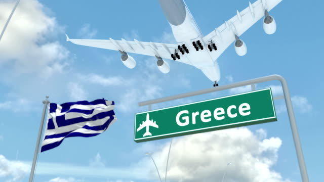 greece, approach of the aircraft to land - grecia stato video stock e b–roll