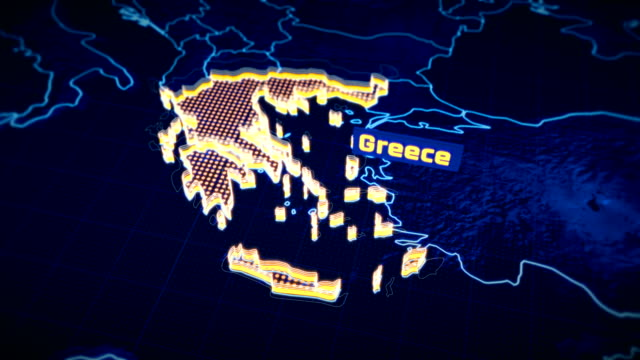 greece country border 3d visualization, modern map outline, travel - grecia stato video stock e b–roll