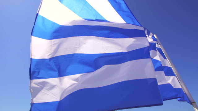 greece flag - greek architecture stock videos & royalty-free footage