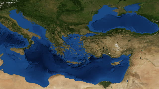 Greece from space - zoom Greece, officially the Hellenic Republic and known since ancient times as Hellas, is a country in Southern Europe. aegean islands stock videos & royalty-free footage