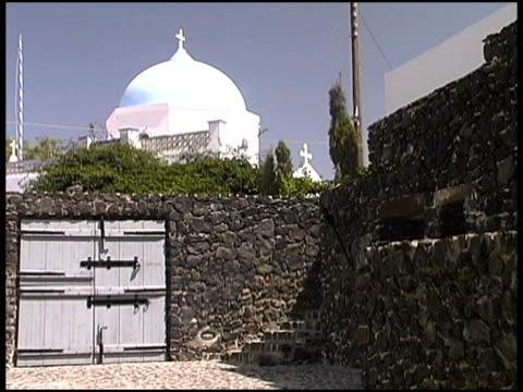Greece: Greek Islands Traditional Church Behind Stone Wall, Wooden Gate