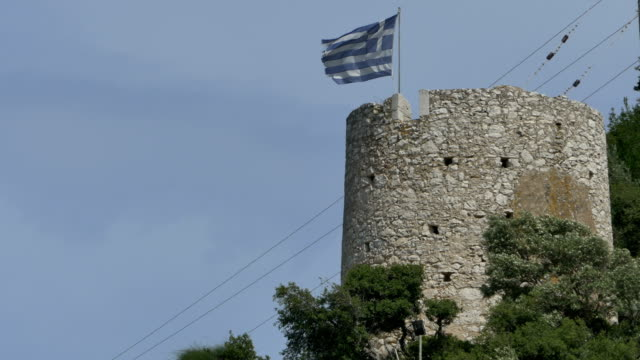 Greece Medieval Tower and Flag video