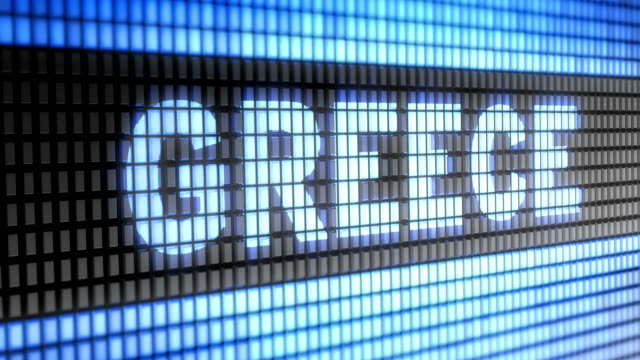 """greece"" on the screen. looping. - grecia stato video stock e b–roll"