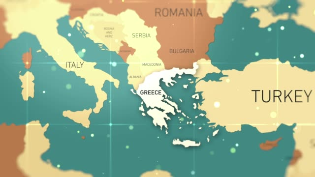greece on world map stock video - hiroshima filmów i materiałów b-roll