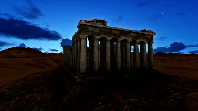 Greece Parthenon 3 D Model At Night With Beautiful Moon video