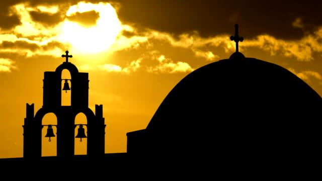 Greece Santorini golden sunset video