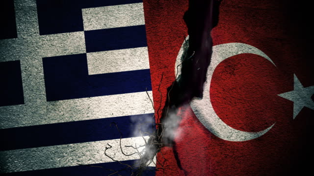 Greece vs Turkey Flags on Cracked Wall video