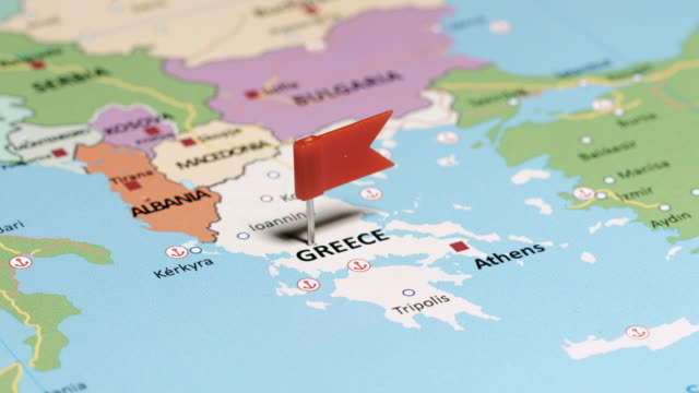 Greece with pin tracking to Greece with pin aegean sea stock videos & royalty-free footage