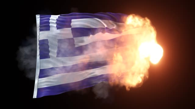 greek flag is appearing into the flames and waves on black background in 4k resolution - grecia stato video stock e b–roll