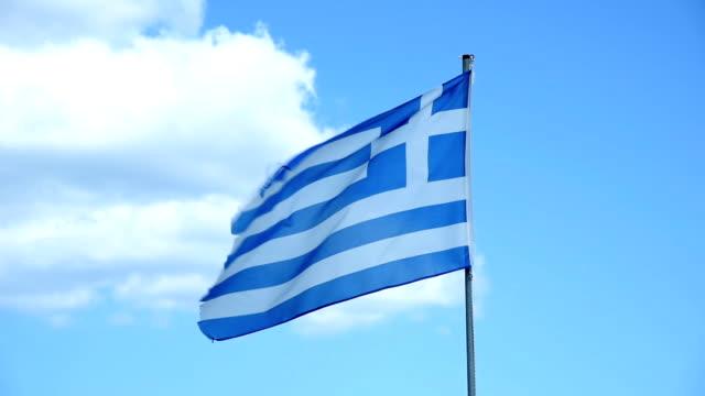 vídeos de stock, filmes e b-roll de bandeira grega - ática ática