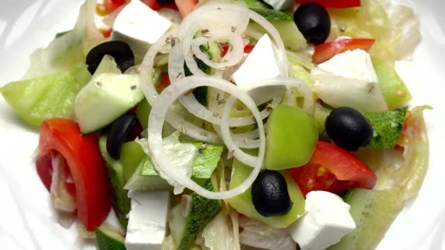 Greek Salad with tomatoes and cheese and peppers video