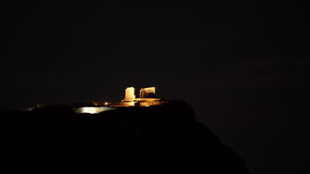 Greek temple of Poseidon at night, Cape Sounio video