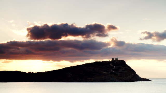 Greek temple of Poseidon, Cape Sounio Greece Cape Sounion. Ruins of an ancient temple of Poseidon, Greek god of the sea, at morning, time lapse 4K aegean islands stock videos & royalty-free footage