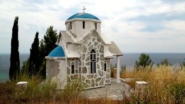 Greek temple on the hill near the Aegean Sea video