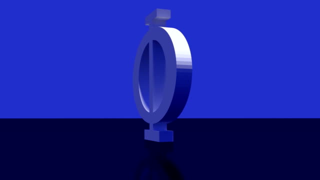 greek upper-case character PHI on dark blue slightly reflecting surface video