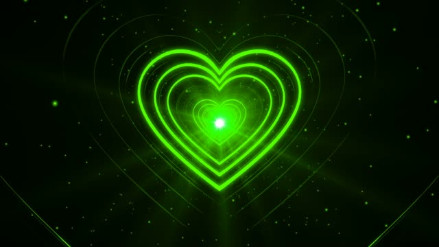 Green Abstract Valentine's Day Heart Shape Tunnel