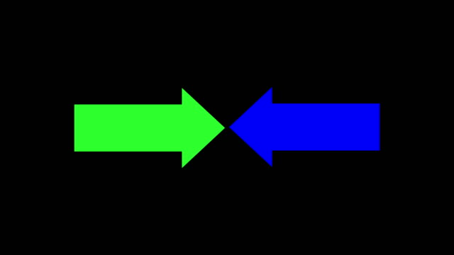 Green and blue arrow collide Download