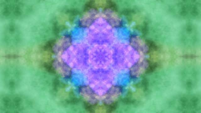gröna och blå rökmönster, fraktal symmetrisk prydnad med strömmande rörelse, sinne lugnande magiska mönster på vit bakgrund, animation slinga kunna - mandala bildbanksvideor och videomaterial från bakom kulisserna