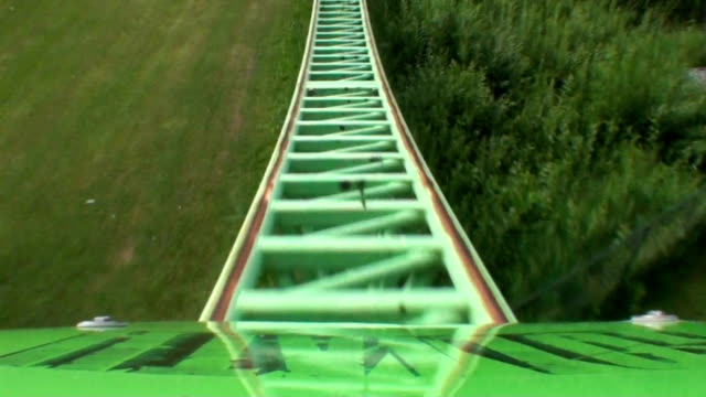 green and purple roller coaster video