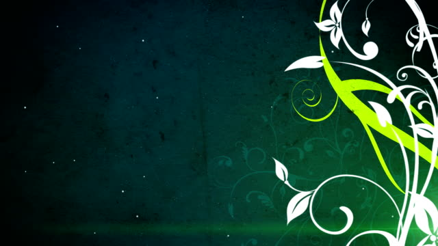 green and white flourishes and flowers video