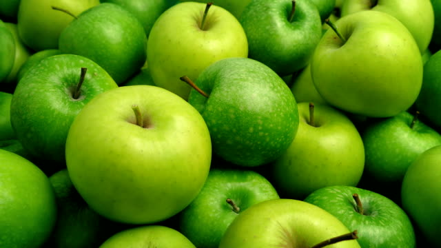 Green Apples Pile Closeup