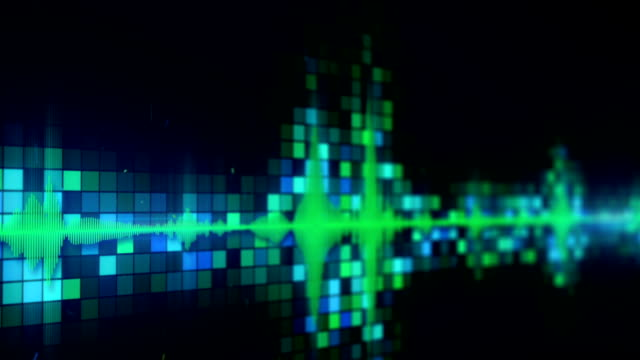 Green audio equalizer on screen loopable animation with DOF video