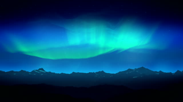 Green aurora over night mountains loop video