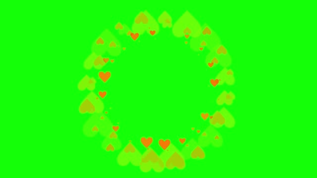 Video Green background with moving heart shape