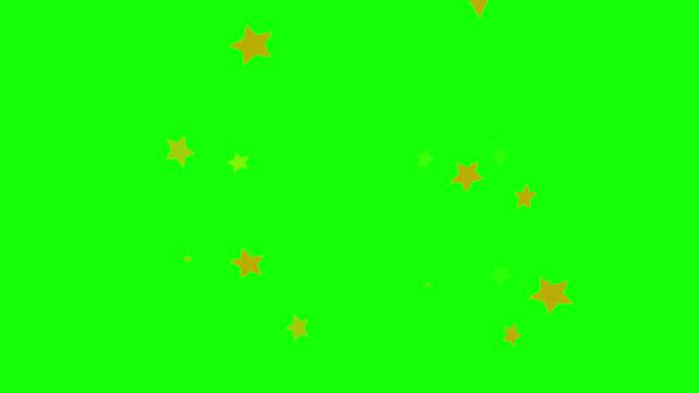 動く星を持つ緑の背景 - 星型点の映像素材/bロール