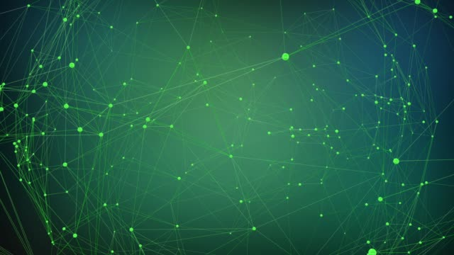 green background with rotating plexus - zielony kolor filmów i materiałów b-roll
