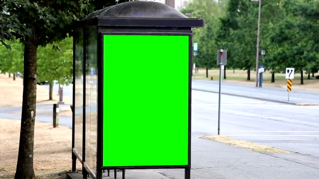 Green billboard for your ad at bus station