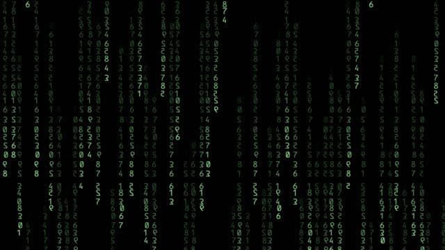 vídeos de stock e filmes b-roll de green binary code falling on black background - bit código binário