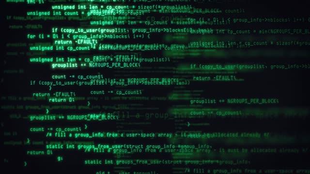 vídeos y material grabado en eventos de stock de los bloques verdes del código del programa abstracto se escriben y se mueven en el espacio virtual. animación de flujo de datos. concepto de ti, desarrollo de software y hacking. código de seguridad cifrado - codificar